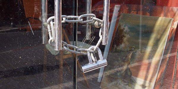 Retail store locked from door