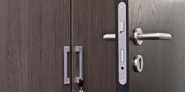 internal business door with multiple locks